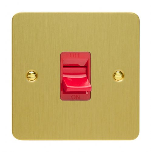 Varilight XFB45S Ultraflat Brushed Brass 45A DP Cooker Switch Single Plate